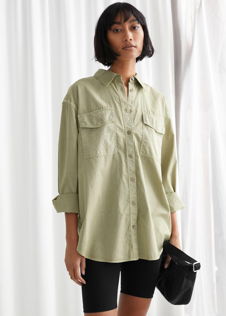"""<br> <br> <strong>& Other Stories</strong> Oversized Button Up Shirt, $, available at <a href=""""https://go.skimresources.com/?id=30283X879131&url=https%3A%2F%2Fwww.stories.com%2Fen_usd%2Fclothing%2Fblouses-shirts%2Fshirts%2Fproduct.oversized-button-up-shirt-green.0783962007.html"""" rel=""""nofollow noopener"""" target=""""_blank"""" data-ylk=""""slk:& Other Stories"""" class=""""link rapid-noclick-resp"""">& Other Stories</a>"""