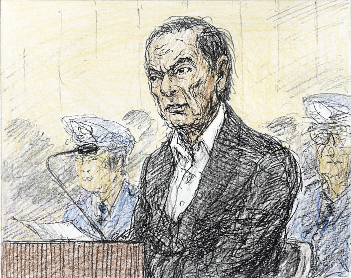 FILE - This Jan. 8, 2019, file courtroom sketch, depicts former Nissan chairman Carlos Ghosn in a courtroom at the Tokyo District Court in Tokyo. Ghosn's lawyers appealed on Thursday, Jan. 17, 2019, to a court rejection earlier this week to their request for his release on bail. The appeal comes two days after the Tokyo District Court turned down a bail request by Ghosn's lawyer, prolonging his detention. (Nobutoshi Katsuyama/Kyodo News via AP, File)
