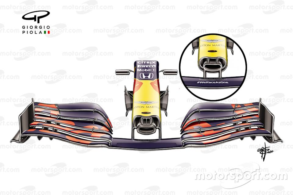 "Red Bull Racing RB16 front wing Austrian GP<span class=""copyright"">Giorgio Piola</span>"