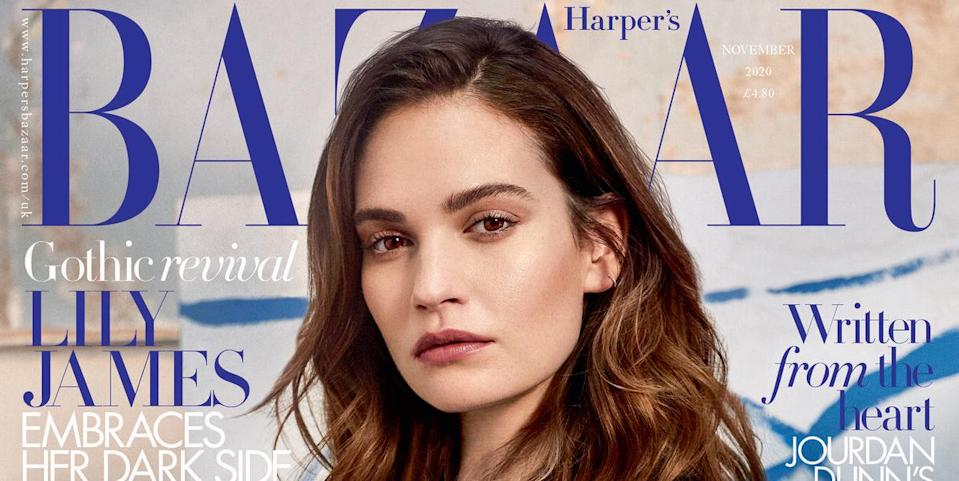 Photo credit: Lily James wearing Dior on the November newsstand cover