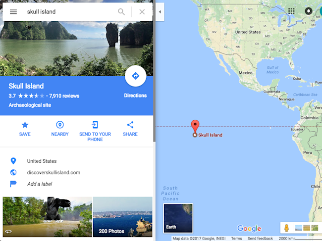 Skull Island\' appears on Google Maps as part of a ...