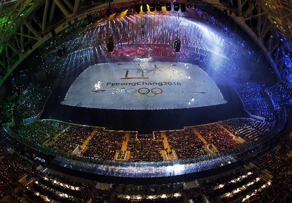 South Korean artists perform during the closing ceremony of the 2014 Winter Olympics, Sunday, Feb. 23, 2014, in Sochi, Russia. Pyeongchang will host the 2018 Olympic Winter Games. (AP Photo/David J. Phillip )