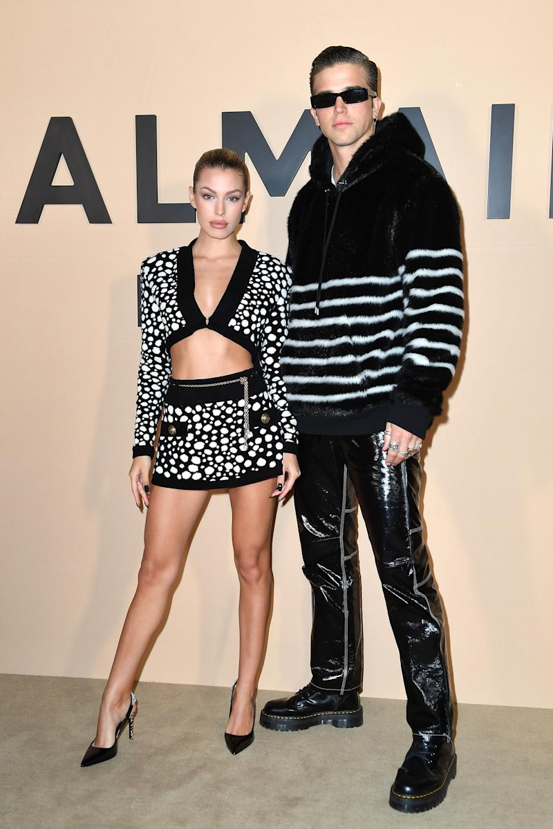 PARIS, FRANCE - JANUARY 17: Jessica Goicoechea and River Viiperi attend the Balmain Menswear Fall/Winter 2020-2021 show as part of Paris Fashion Week on January 17, 2020 in Paris, France. (Photo by Jacopo Raule/Getty Images)