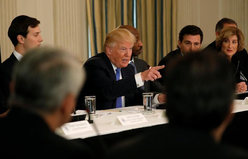 Trump hosts a meeting with manufacturing CEOs at the White House in Washington