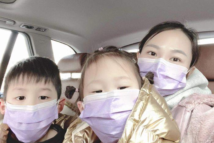 Mother Emma Wei and her children are reportedly stuck in Wuhan. Source: ABC News