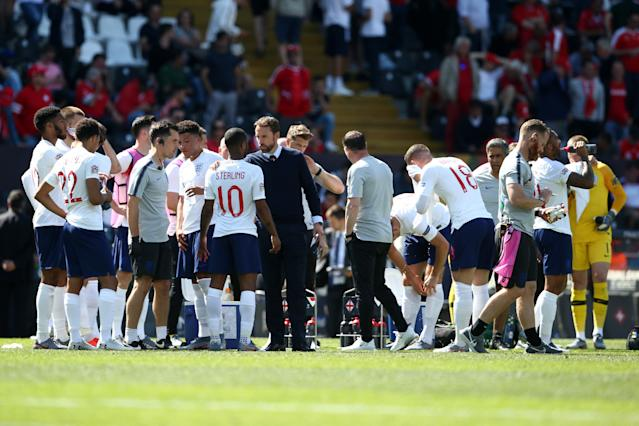 England prepare for their penalty shoot out. (Photo by Jan Kruger/Getty Images)