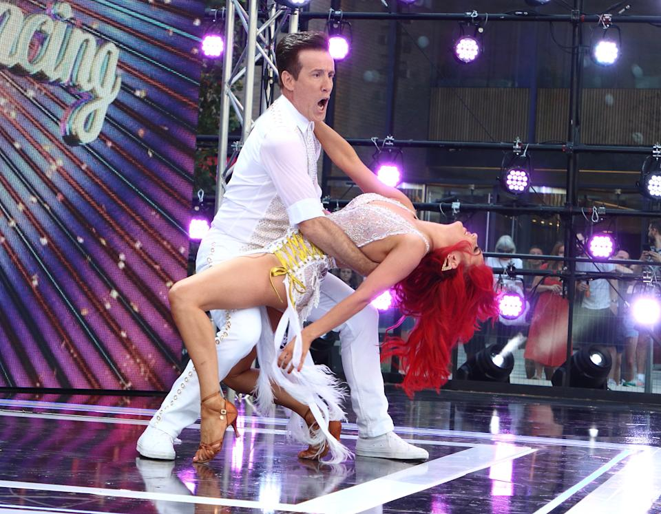 Anton du Beke and Dianne Buswell perform a routine as Presenters, Professional Dancers, Celebrity dancers and Judges onstage during the BBC Strictly Come Dancing Launch at Broadcasting House in London. (Photo by Keith Mayhew / SOPA Images/Sipa USA)
