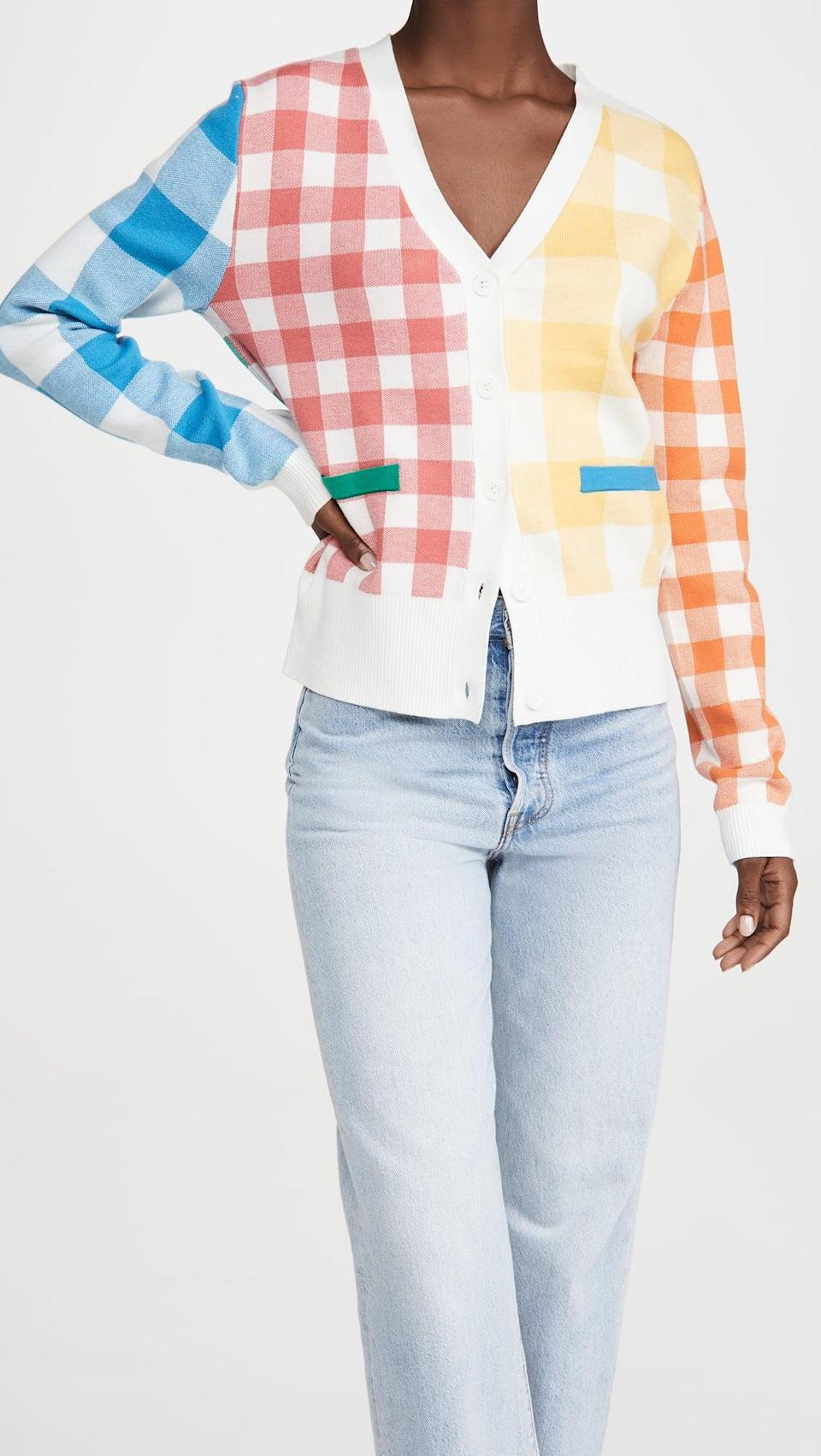<p>The mix of colors on this <span>English Factory Colorblock Check Cardigan</span> ($90) is so fun.</p>