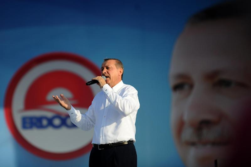 Turkish Prime Minister and Presidential candidate Recep Tayyip Erdogan speaks during a rally on August 3, 2014 in Istanbul