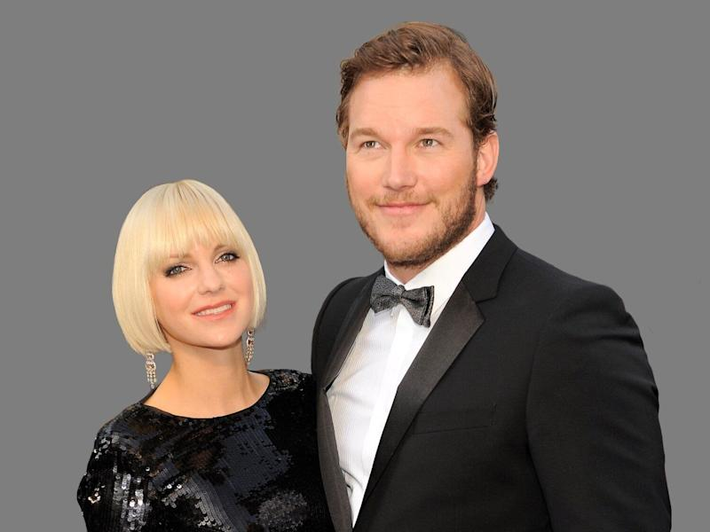 Anna Faris, left, and Chris Pratt at the 84th Academy Awards in the Hollywood section of Los Angeles, graphic element on gray