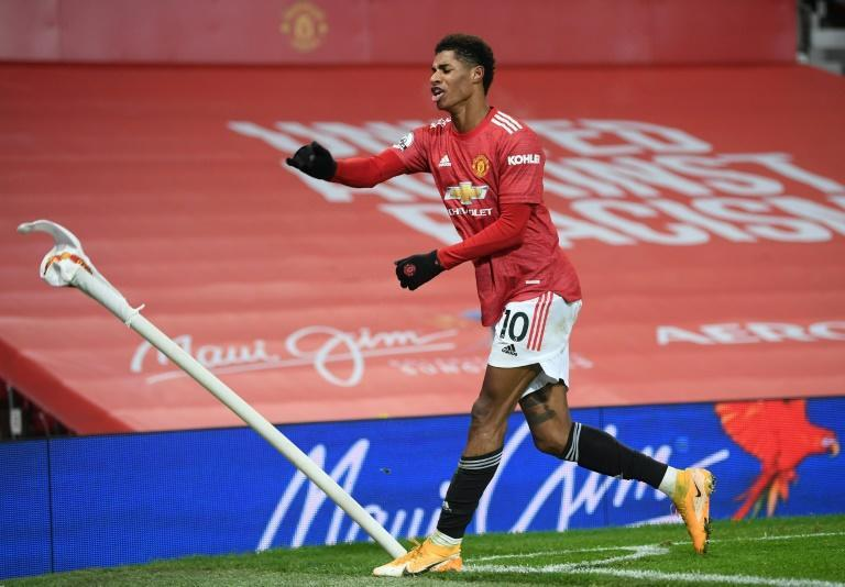 Just in time: Marcus Rashford's 93rd minute winnner took Manchester United second in the Premier League