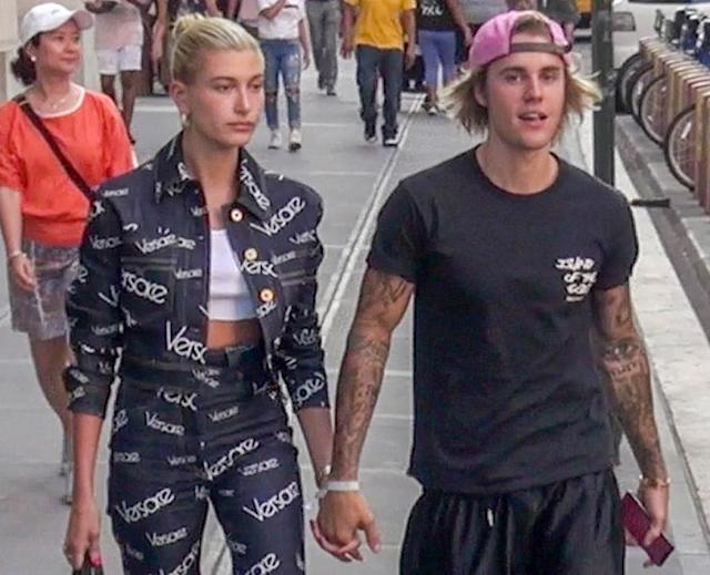 Hailey Baldwin and Justin Bieber out and about in New York City. (Photo: BACKGRID)