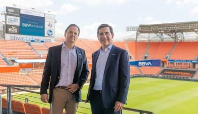 BBVA USA President and CEO Javier Rodriguez Soler (left) and BBVA Group Executive Chairman Carlos Torres Vila pose inside the newly-renamed BBVA Stadium in Houston, Texas on June 13, 2019.