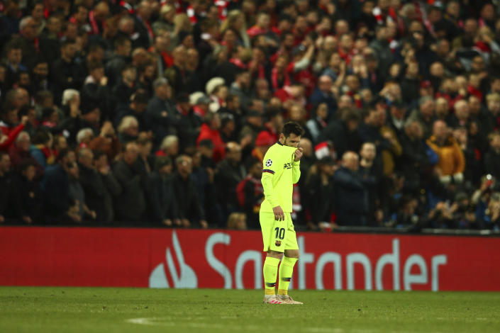Barcelona's Lionel Messi leaves the playing field after losing the Champions League semifinal, second leg, soccer match against Liverpool at the Anfield stadium in Liverpool, England, Tuesday, May 7, 2019. (AP Photo/Dave Thompson)