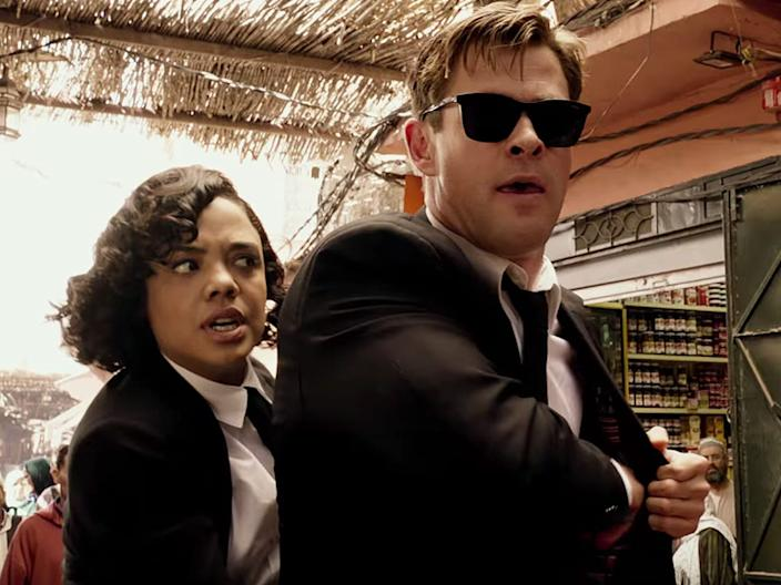Chris Hemsworth and Tessa Thompson play Agent H and Agent M in