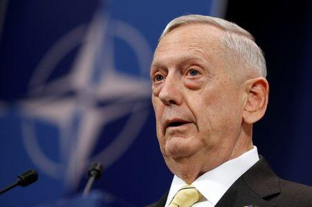 U.S. Defense Secretary Mattis addresses a news conference during a NATO defence ministers meeting in Brussels