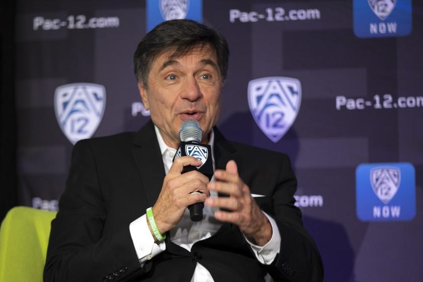 Southern California head coach Mark Trakh speaks to reporters during the Pac-12 Conference women's NCAA college basketball media day Monday, Oct. 7, 2019, in San Francisco. (AP Photo/D. Ross Cameron)