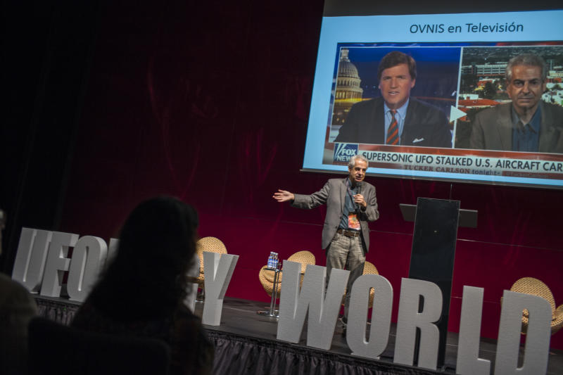 Nick Pope on stage at the Ufology World Congress 2019 in Barcelona, Spain. (Photo: José Colon for Yahoo News)