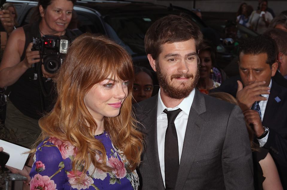 """NEW YORK, NY - JULY 17:  Actors Emma Stone and Andrew Garfield attend """"Magic In The Moonlight"""" premiere at Paris Theater on July 17, 2014 in New York City.  (Photo by Jim Spellman/WireImage)"""