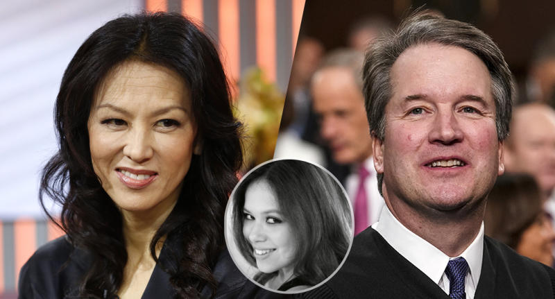 Amy Chua, Sophia Chua-Rubenfeld and Brett Kavanaugh. (Photo illustration: Yahoo News; photos: Peter Kramer/NBC/NBC NewsWire via Getty Images, via Twitter, Doug Mills/The New York Times via AP, Pool)