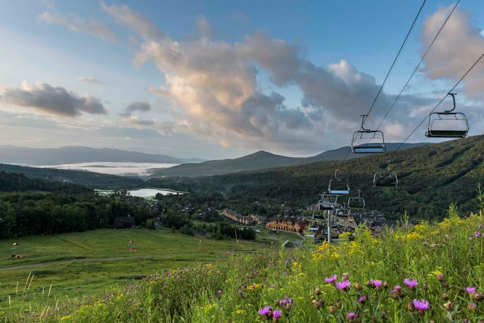 "<div class=""caption""> The idyllic Lodge at Spruce Peak in Vermont is offering extended summer stays—perfect for exploring the region with a home base. </div> <cite class=""credit"">Photo: Guillaume Gaudet / Courtesy of The Lodge at Spruce Peak</cite>"