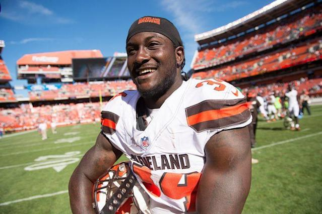 Browns running back Isaiah Crowell made a sizable donation to the Dallas Fallen Officer Foundation. (Getty Images)