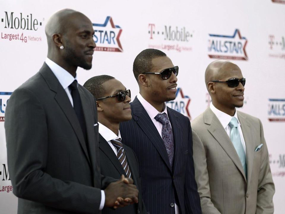 Kevin Garnett, Rajon Rondo and Paul Pierce probably wish we cropped Ray Allen out of this photo. (AP)