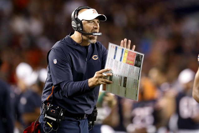 Chicago Bears coach Matt Nagy encourages his team during the second half of an NFL preseason football game against the Carolina Panthers on Thursday, Aug. 8, 2019, in Chicago. (AP Photo/Amr Alfiky)