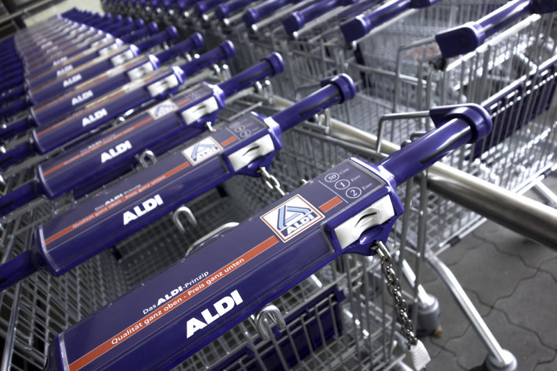Hamburg, Germany - April 12, 2014: New Aldi Shopping Carts from a just opened new Aldi Discounter. Aldi is a German large discount chain splitted in Aldi Nord and Aldi Süd.