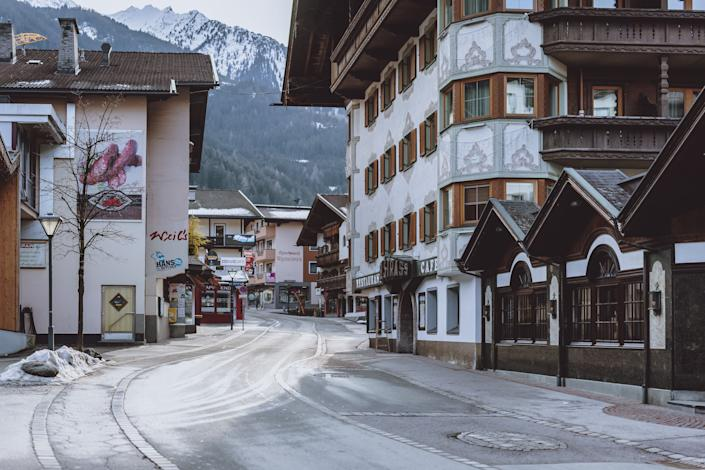 A street is pictured in Mayrhofen in Tyrol, Austria on February 4, 2021, amid the ongoing coronavirus Covid-19 pandemic. - The Austrian government on February 4, 2021 rejected a possible lockdown of Tyrol, after alarmist remarks by a virologist denouncing the passivity towards the South African variant and warning of a new health scandal. (Photo by - / various sources / AFP) / Austria OUT (Photo by -/EXPA/AFP via Getty Images)