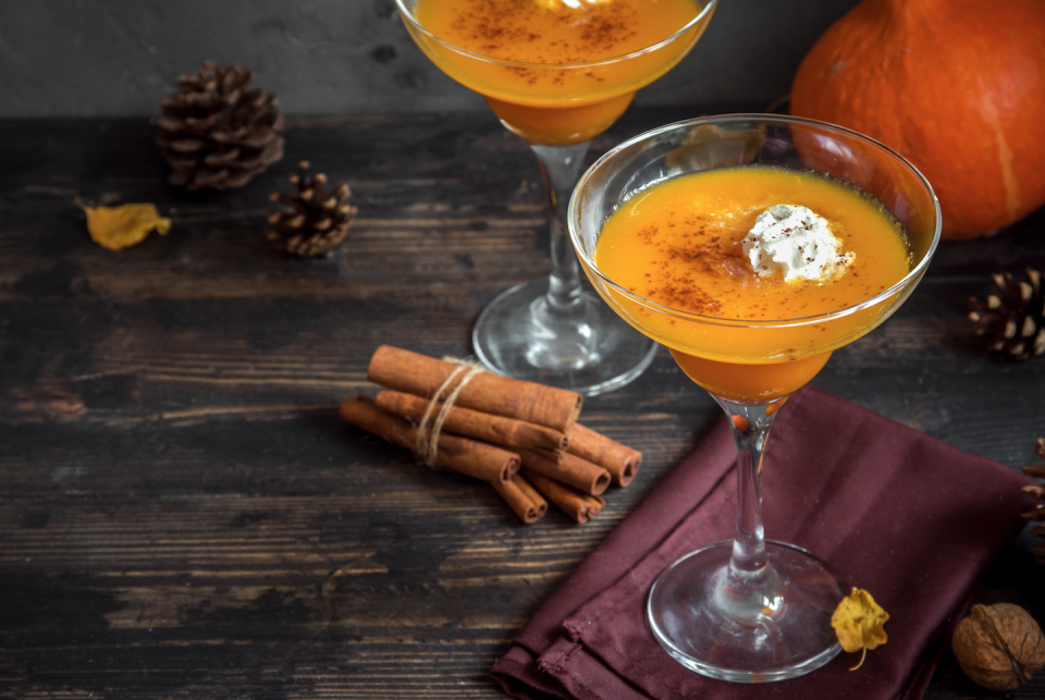"""<p><strong>Ingredients</strong></p><p>1.5 oz vanilla vodka<br>1 oz spiced rum<br>1 oz Domaine de Canton<br>2 tbsp pumpkin puree<br>2 tbsp white sugar<br>1 tsp ground pumpkin pie spice<br>1 cup marshmallow cream or whipped cream, for garnish</p><p><strong>Instructions</strong></p><p>Add vodka, rum, Domaine de Canton & pumpkin puree into a cocktail shaker with ice. Shake until well combined. Rim a martini glass with mixed sugar & pumpkin pie spice. Double strain the martini into the glass and top with marshmallow cream or whipped cream.</p><p><em>From Andrea Correale of <a href=""""http://www.elegantaffairscaterers.com/"""" rel=""""nofollow noopener"""" target=""""_blank"""" data-ylk=""""slk:Elegant Affairs"""" class=""""link rapid-noclick-resp"""">Elegant Affairs</a></em></p>"""