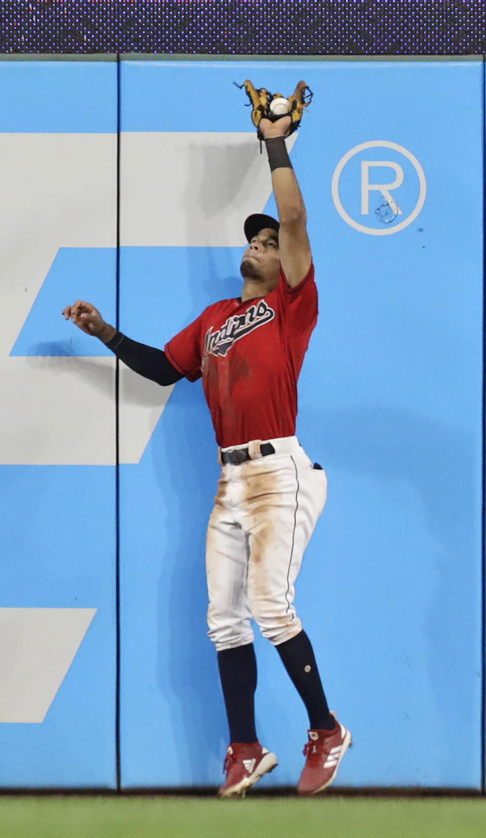 Cleveland Indians' Oscar Mercado catches a ball hit by Philadelphia Phillies' Jay Bruce during the fourth inning in a baseball game Friday, Sept. 20, 2019, in Cleveland. AP Photo/Tony Dejak)