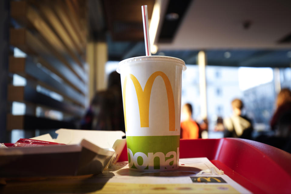 A Coca Cola drink is seen at a McDonald's fast food establishment in Warsaw, Poland on February 16, 2019. The first McDonald's ever built in the country recently closed and a new one reopenede near the original location on Swietokrzyska street. Poland has over 400 McDonald's in operation. (Photo by Jaap Arriens/NurPhoto via Getty Images)