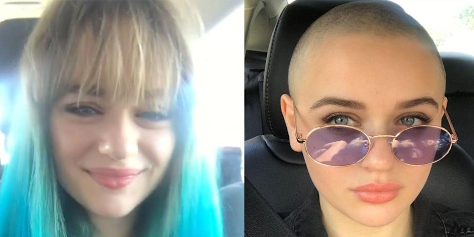 "<p>Just a few weeks after spontaneously dying her hair blue, Joey King has gone completely bald! The actress shaved her head for her upcoming role in <em>The Act</em>, a Hulu show about the true story of a daughter who kills her mother. </p><p>Joey is super chill about the big change. She told <em><a href=""https://www.allure.com/story/joey-king-shaved-head-the-act-interview"" rel=""nofollow noopener"" target=""_blank"" data-ylk=""slk:Allure"" class=""link rapid-noclick-resp"">Allure</a></em>, ""I've never really had an attachment to my hair. I couldn't care less what happens to it."" That's probably because this marks the third time Joey has shaved her head for a role, cutting off all her hair back when she was 11 for <em>The Dark Knight Rises </em>and again when she was 14 for <em>Wish I Was Here. </em></p>"