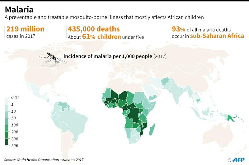 World map showing the incidence of malaria (AFP Photo/Kun TIAN)