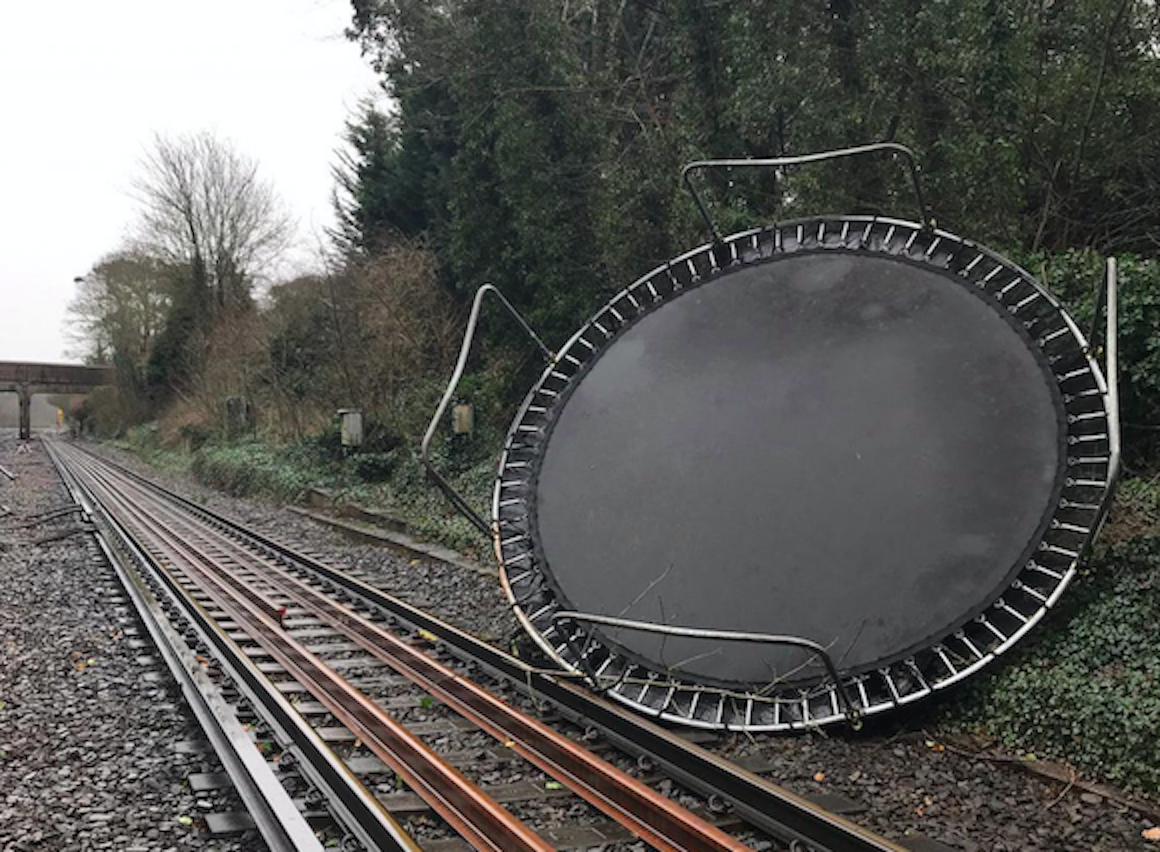 A trampoline fell on to tracks near Bickley on the Victoria/Chatham main line, as Storm Ciara hit the UK. (PA)