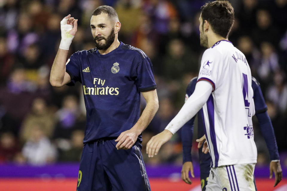 VALLADOLID, SPAIN - JANUARY 26: Karim Benzema of Real Madrid during the La Liga Santander  match between Real Valladolid v Real Madrid at the Stadium Jose Zorrilla on January 26, 2020 in Valladolid Spain (Photo by David S. Bustamante/Soccrates/Getty Images)
