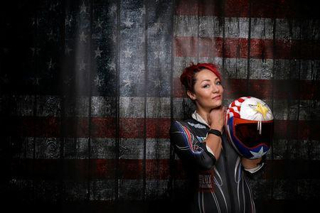 FILE PHOTO: Skeleton racer Katie Uhlaender poses for a portrait at the U.S. Olympic Committee Media Summit in Park City, Utah, U.S. September 25, 2017. Uhlaender listens to hip hop while she trains. REUTERS/Lucy Nicholson/File Photo