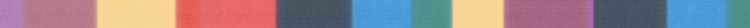 Thin bar with multiple colors indicating a break in the page.