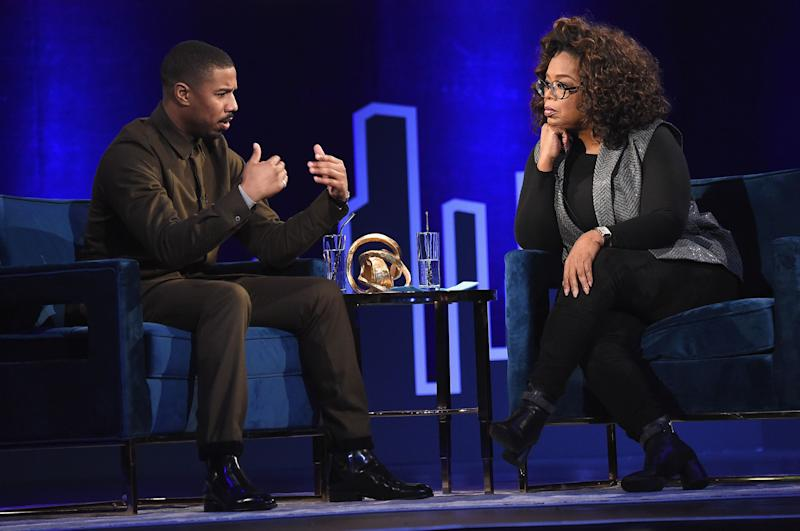 NEW YORK, NEW YORK - FEBRUARY 05: Michael B. Jordan and Oprah Winfrey speak during Oprah's SuperSoul Conversations at PlayStation Theater on February 05, 2019 in New York City. (Photo by Jamie McCarthy/Getty Images) ORG XMIT: 775283241 ORIG FILE ID: 1127617649
