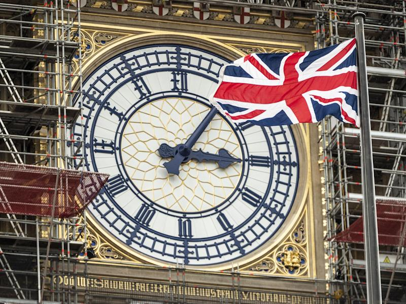 The Union flag flies in front of the Clock face on the Queen Elizabeth Tower, commonly referred to as Big Ben: Getty