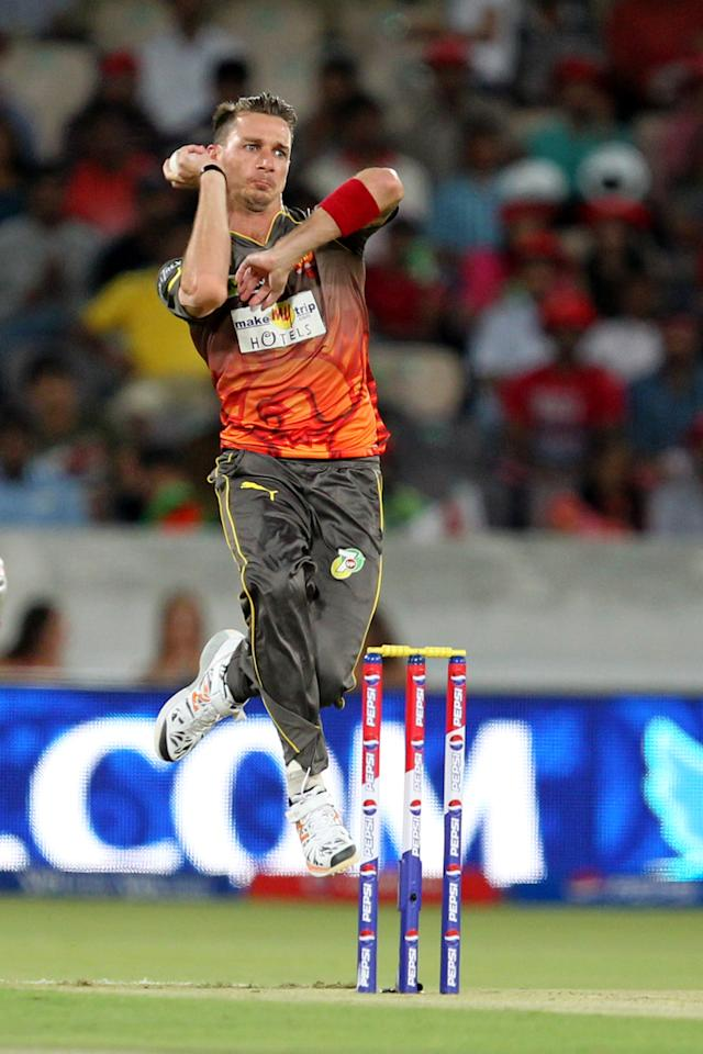 Dale Steyn bowls during match 25 of the Pepsi Indian Premier League between The Sunrisers Hyderabad and The Kings XI Punjab held at the Rajiv Gandhi International  Stadium, Hyderabad  on the 19th April 2013Photo by Prashant Bhoot-IPL-SPORTZPICS Use of this image is subject to the terms and conditions as outlined by the BCCI. These terms can be found by following this link:https://ec.yimg.com/ec?url=http%3a%2f%2fwww.sportzpics.co.za%2fimage%2fI0000SoRagM2cIEc&t=1490914953&sig=CrssUVRSQqUC53H5u_r79w--~C