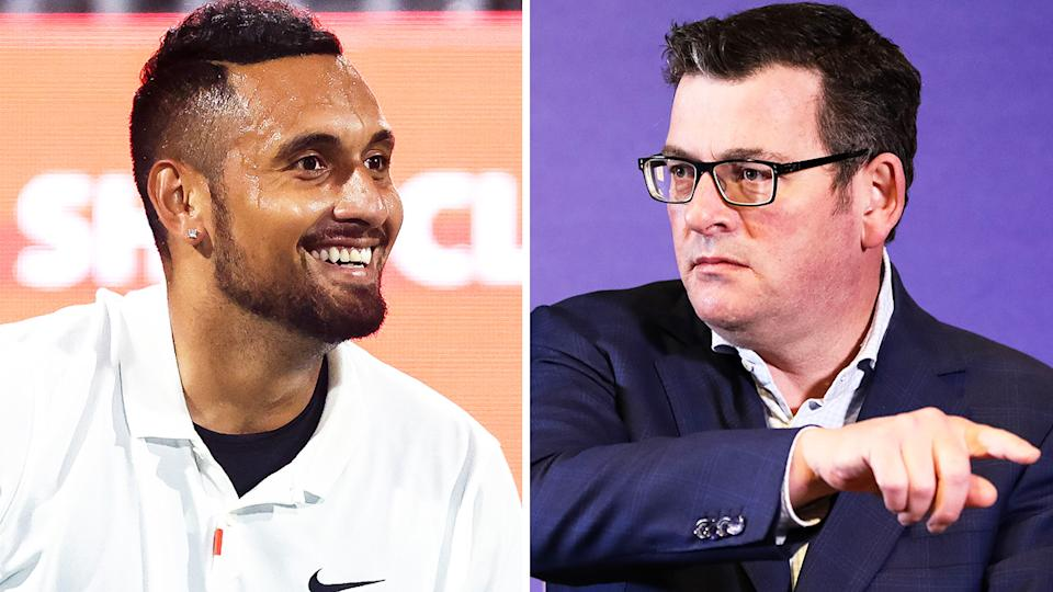 Nick Kyrgios criticised Victorian premier Daniel Andrews on Twitter over a heavy-handed comment during Sunday's press conference.