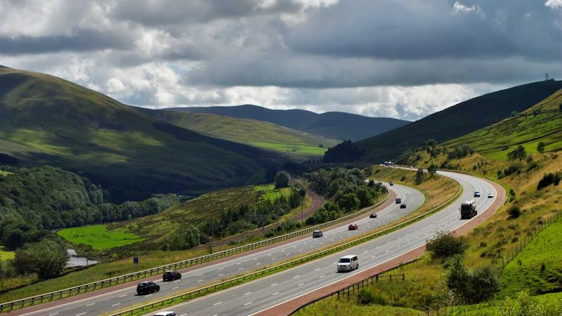 Section of the M6 motorway near Shap Cumbria England