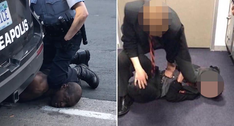 George Floyd is pictured with a police officer on his neck and two school boys from St Joseph's College, Gregory Terrace are pictured imitating this.