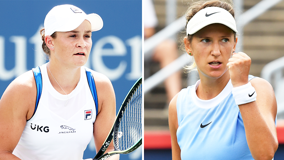 Ash Barty (pictured left) waiting for a serve and (pictured right) Victoria Azarenka celebrating.