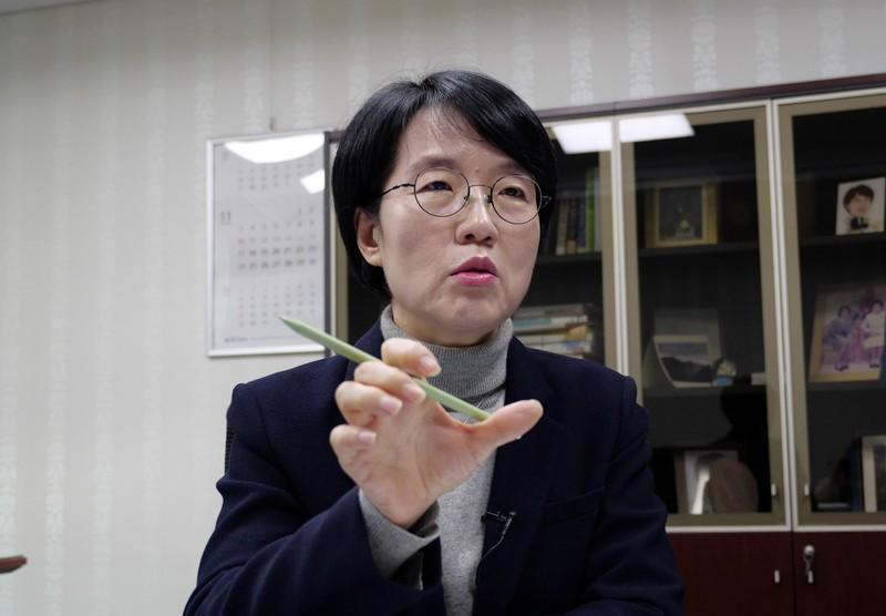 Lawmaker Park Sun-sook speaks during an interview with Reuters in Seoul