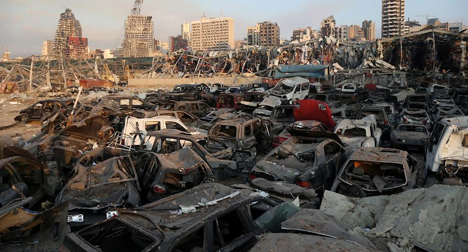 Destroyed vehicles following an explosion at the Beirut Port, Beirut, Lebanon.