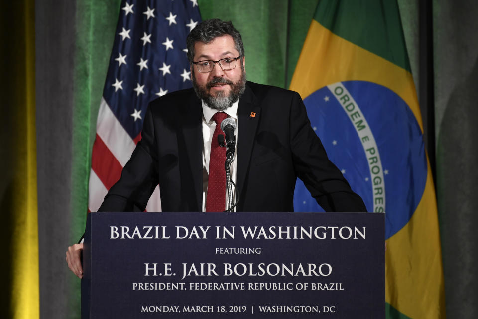 Brazil's Foreign Minister Ernesto Araujo speaks at the Chamber of Commerce in Washington, Monday, March 18, 2019. (AP Photo/Susan Walsh)