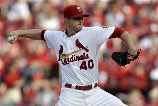 St. Louis Cardinals starting pitcher Shelby Miller throws during the first inning of a baseball game against the Arizona Diamondbacks on Thursday, June 6, 2013, in St. Louis. (AP Photo/Jeff Roberson)